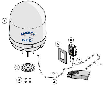 GLOMEX Satellite TV Antenna V8001N delivery contents